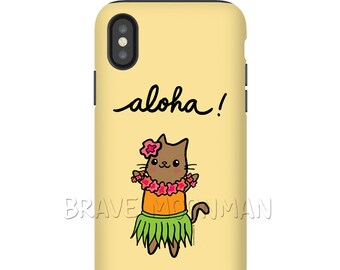 Aloha iPhone X Case Tough Case for Galaxy and iPhone 10 Case Hawaii Phone Case Hawaii Gift Cat Phone Case