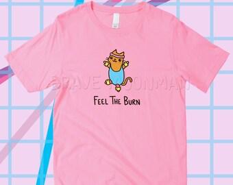 Cat Shirts for Women Feel The Burn Cat Gifts for Her Cute Tees for Women Funny Workout Shirt Kitty Shirt Women Sayings on Shirt