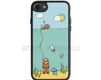 Nautical iPhone 7 Plus Case Galaxy S8 Case Cute Cat Deep Sea Diver Cat iPhone 6s Case Nautical iPhone 5s Case Underwater