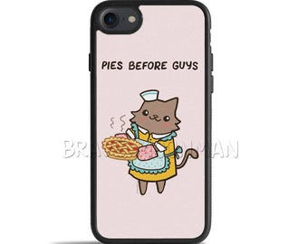 Cute iPhone 7 Case Pies Before Guys Galaxy S7 Case iPhone 6s Case Unique Gift For Her Cat Phone Case Pink Girl Power Gift iPhone X Cases