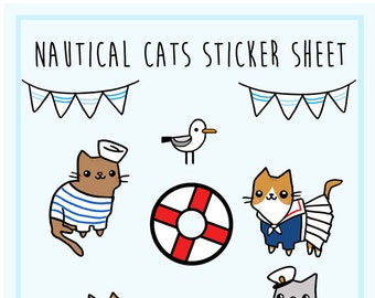 Cute Sticker Sheet Nautical Cat Stickers Sailor Cat Kawaii Stickers Cute Gift Idea