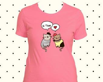 Je Taime Shirt netten Frauen-T-Shirt mit Sprüchen Französisch Tshirt T Shirt Frauen Französisch Katze in Liebe frankophilen Shirt für Frauen