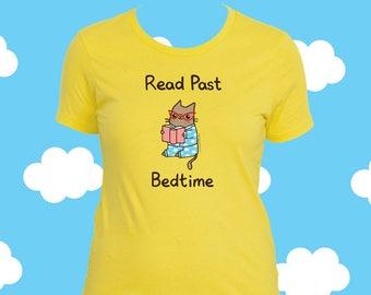 Katze-Buch-Shirt lesen Vergangenheit meine Schlafenszeit Cat Lover Shirt für Mädchen Bücherwurm Shirt Frauen Tshirt Bücherwurm Geschenk Buch Liebhaber Shirt lesen Vergangenheit vor dem Schlafengehen