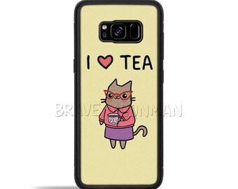 Rubber Galaxy S7 Case I Love Tea Drinker Gift Rubber Galaxy Note 8 Case Rubber Phone Case Tea Lover Gift For Tea Lovers
