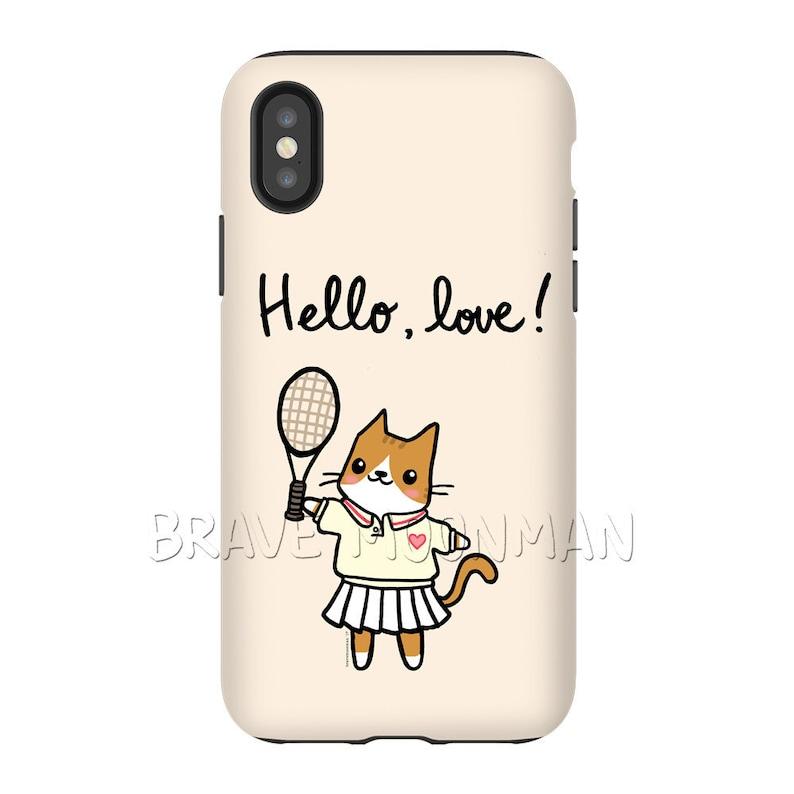 best service f8864 0e89b Tennis iPhone Case Hello Love Pink Tough Case for iPhone X Cute Cat Lady  Gift for Cat Lover Gift for Her iPhone 6s Plus Case