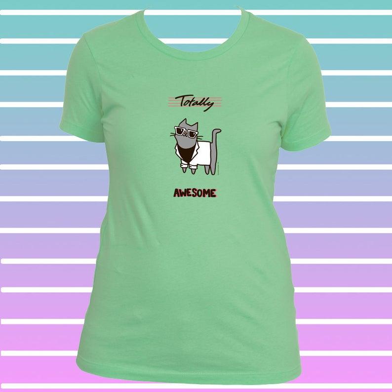 Cat Tee Shirt Women Miami Vice Style Totally 80\u0027s Wayfarer Sunglasses Miami  Vice Blazer 80s T Shirt 80s Shirt