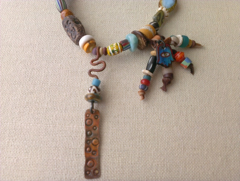 Seeds Hippie Gypsy necklace Wood Trade Beads, Bohemian Ethnic