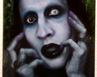 "ORIGINAL Marilyn Manson painting, 12x16"", oil on canvas"