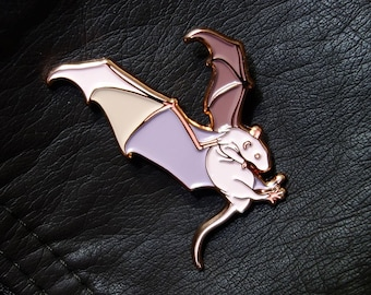 """Rats With Wings enamel pin, Flying Hairless Rat with bat wings in soft enamel and rose gold, 1.75"""" A and B Grade/Seconds"""