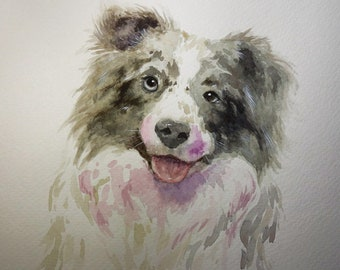 "CUSTOM Pet Portrait Watercolor painting sketch 8x8"" or 9x12"""