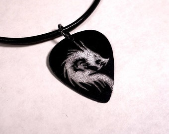 SALE - Engraved Dragon Plastic Guitar Pick Necklace or Pendant, black and silver
