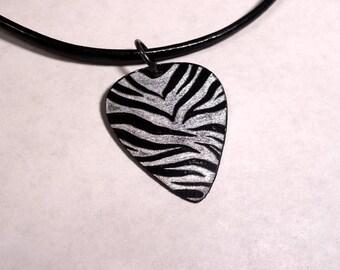 SALE - Engraved Zebra Print Plastic Guitar Pick Necklace or Pendant, black and silver