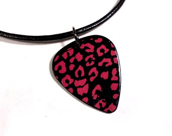 SALE - Leopard Print Plastic Guitar Pick Necklace or Pendant, black and pink