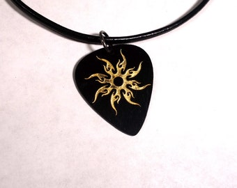SALE - Engraved Tribal Sun Plastic Guitar Pick Necklace or Pendant, black and gold