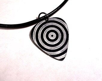 SALE - Engraved Target Plastic Guitar Pick Necklace or Pendant, black and silver