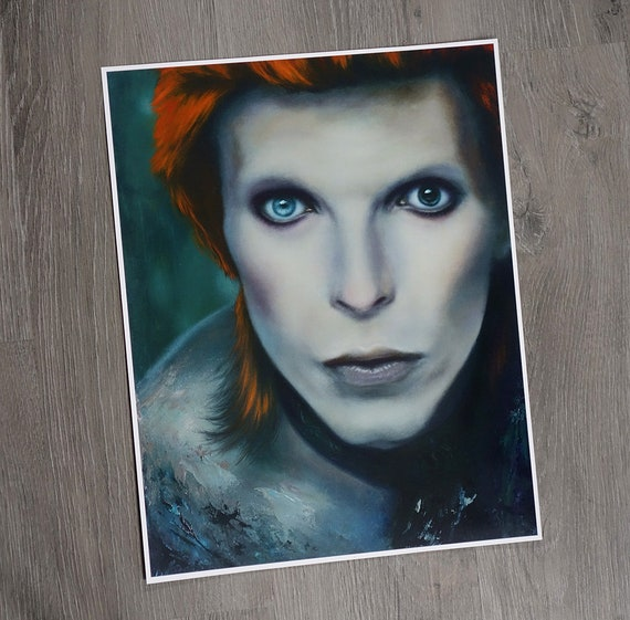 "PRINT David Bowie Cat 11x14/"" Art Poster oil painting Aladdin Sane Ziggy Stardust"