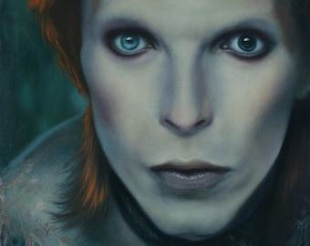"ORIGINAL David Bowie Oil Painting portrait, 11x14"" oil on canvas, 70s glam rock realism art"