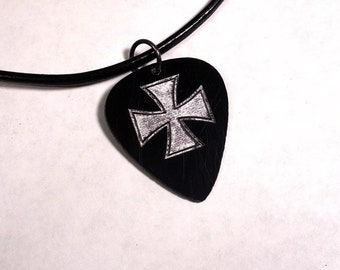 SALE - Engraved Iron Cross Plastic Guitar Pick Necklace or Pendant, black and silver