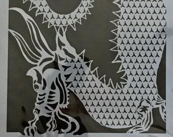DRAGON  Stencil Girl laser cut stencil  9 x 12
