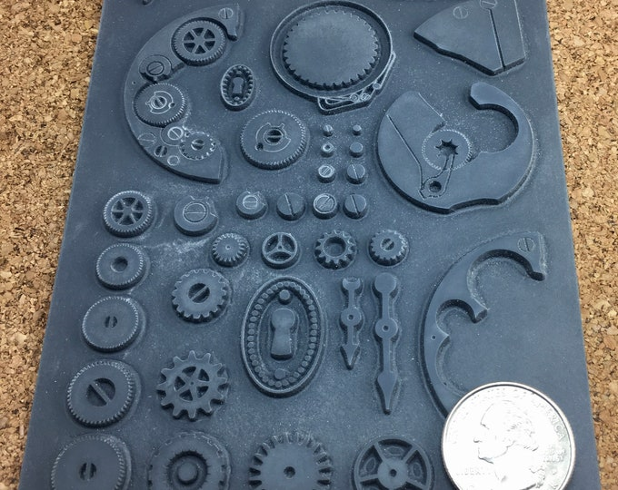 STEAMPUNK OUTIE  Christi Friesen Rubber Stamp  Designs for polymer metal  Clay Embossing  Texture  Inking