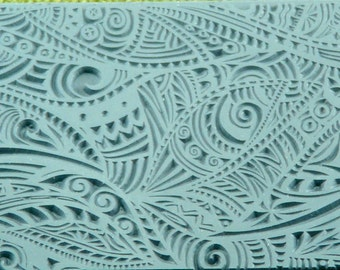 PAISLEY Clay Texture Rubber Stamp Tribal Zentangle   TTL-144