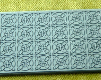 CELTIC SQUARES  Embossed Clay Texture Rubber Stamp   TTL-302