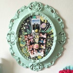 Colorful Magnetic Memo Board, Fabric Board, Photo Display, Upcycled Ornate Vintage Frame