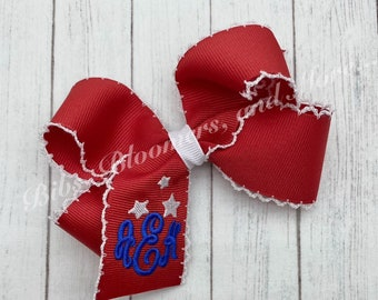 Large Holiday Grosgrain Moonstitch Hair Bow Personalized