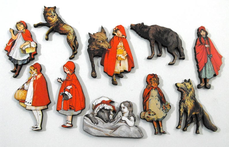 Little Red Riding Hood  Collection of 10 Laser Cut Wood Craft image 0