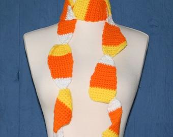 Candy Corn Crochet Scarf Pattern, Child to Adults, PDF