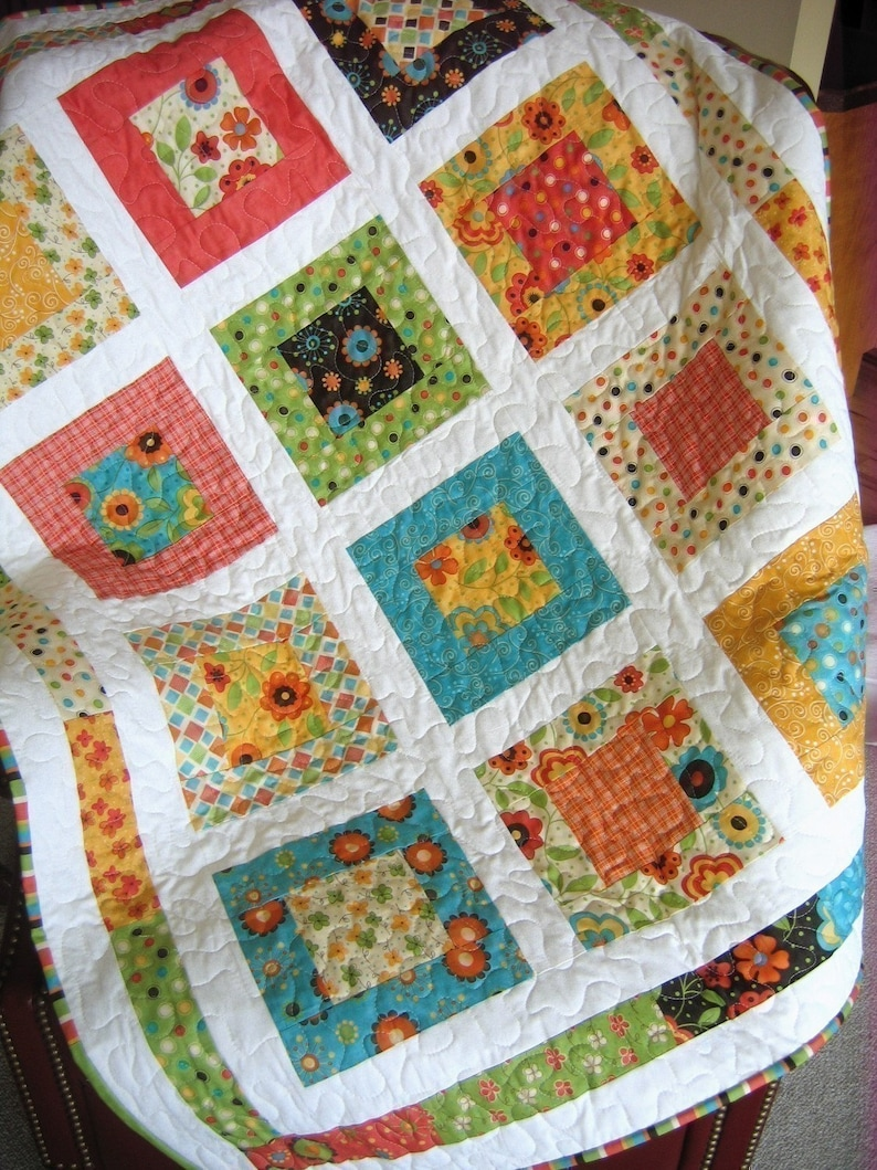 PDF Quilt Pattern, Lap or Baby size    Quick and Easy, Layer Cake or Fat  Quarters, San Francisco Window Boxes