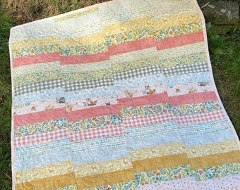 PDF baby quilt pattern, quick and easy, jelly roll pattern, A Tricky Path
