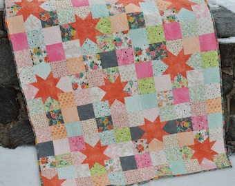 Baby Quilt and Lap Quilt Pattern, ....Quick and Easy, Charm Squares, Layer Cakes or Fat Quarters, Starry Night