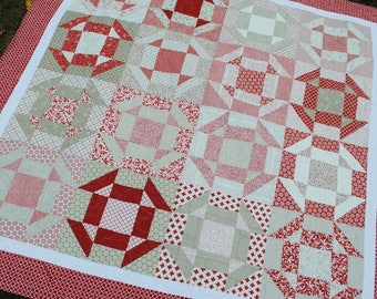 Patchwork Quilt PATTERN ....Baby, Lap, Twin and Full/Queen, Layer Cake or Fat Quarters, Shoo Dash Quilt