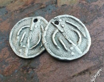 Labyrinth, White Brass Metal Clay Charms, PurpleLilyDesigns
