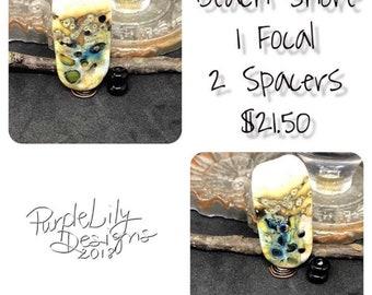 Beach Shore, Artisan Lampwork Focal & spacers, PurpleLilyDesigns