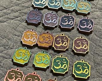 Handpainted Om charms, PurpleLilyDesigns- Birch Wood, Metallic paint