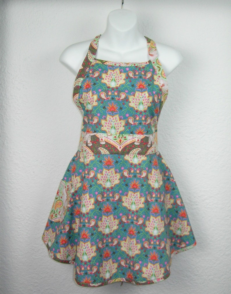 Ladies Apron in  Lovely Peacock Fabric