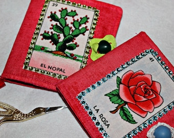 Mexican Loteria, Mexican Needle Book, Sewing Notions, Quilting Notions, Loteria Fabric, Loteria Kitsch, Mexican Folk Art, Loteria Card
