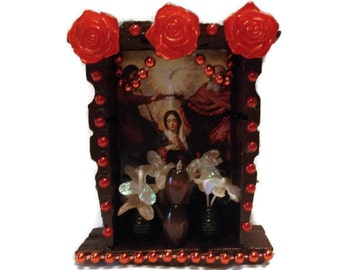 Mexican Wood Nicho, Virgin Shrine, Mexican Folk Art, Virgin Altar, Catholic Prayer Card, Catholic Kitsch, Mexican Kitsch, Catholic Church