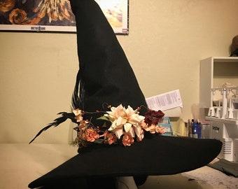Custom Fancy Hippie Wizard Witch Fantasy Pointed Hat with Flower Crown