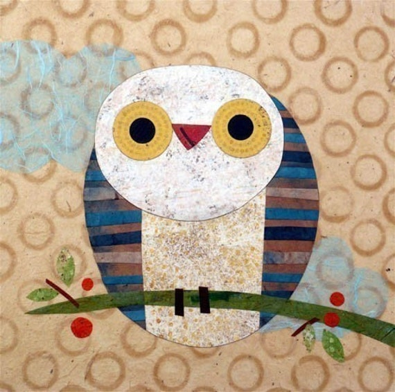 "Owl Print Owl art Prints 8x8/"" signed by artist colorful owl art Owl decor"