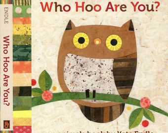 Who Hoo Are You, childen's book, board book, owl book for children, language book for children, babyshower gift, baby nursery, collage art