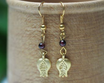 Pomegranate and Garnet Earrings for Persephone - Pagan, Wicca, Goddess, Kore - Greek Goodess