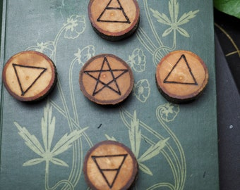 Avalon Apple Wood Elemental Altar Set - Quarter Markers - For a Pagan or Wiccan Altar - Witchcraft, Ogham Tree