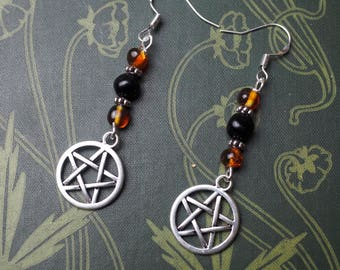 Baltic Amber and Jet Witches Earrings Pentagram Earrings - Pagan, Wiccan, Pentacle, Lignite Jet