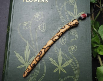 Rowan Wood Spiral Wand Pendant - Protection, Fey - Pagan, Wicca, Witchcraft, Travel Wand