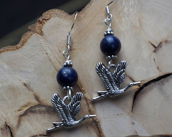 Heron & Lapis Lazuli Earrings - Magic, Tranquility - Witchcraft, Wicca, Pagan