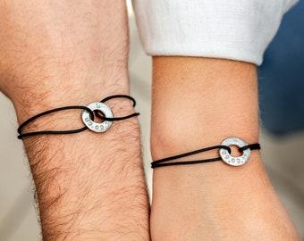 His and Hers Bracelets - Couples Custom Message Bracelets
