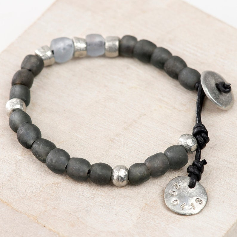 0240a2097f39f Leather & Handmade Grey Bead Bracelet - Personalised Glass and Pewter  Bracelet - Unisex Jewellery - Personalized Bracelet - Mens bracelet